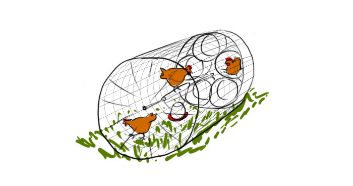 mobile chicken coop - wheel