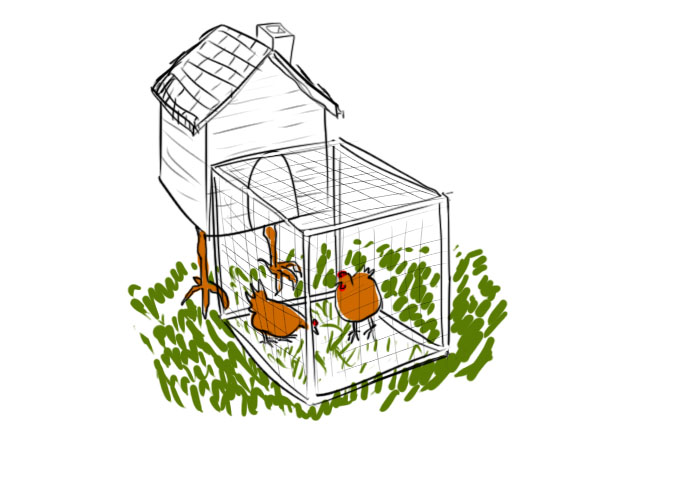 "mobile chicken coop ""the baba yaga"""