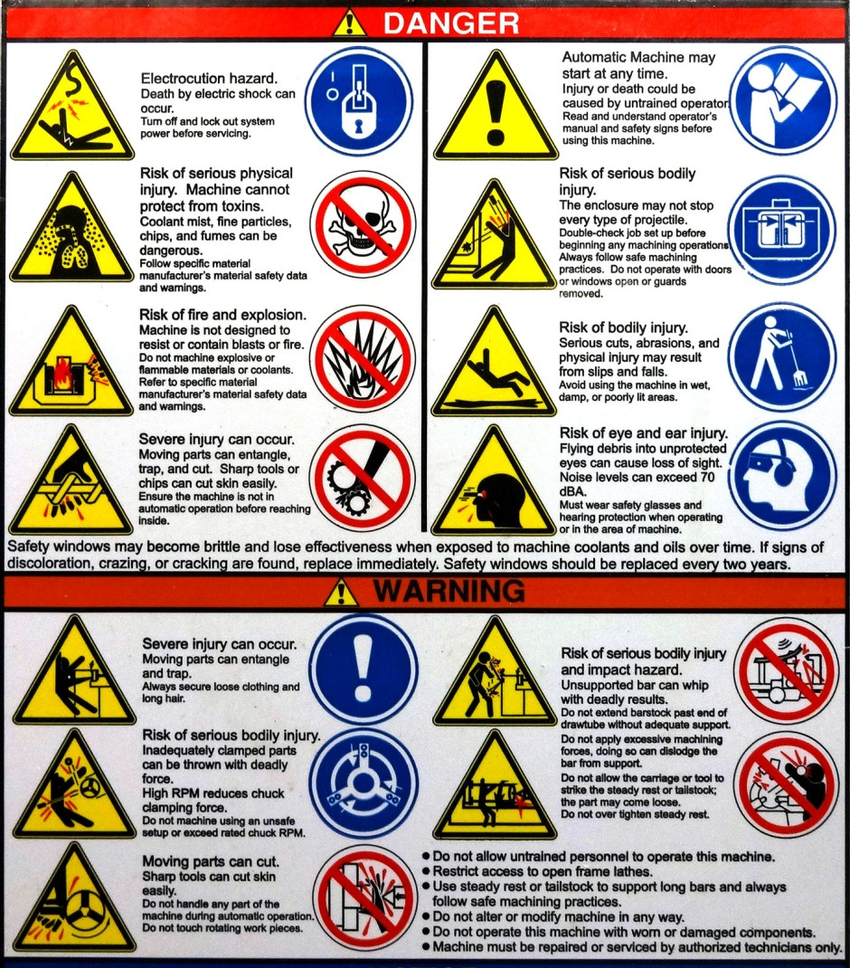 danger and warnings associated with CNC