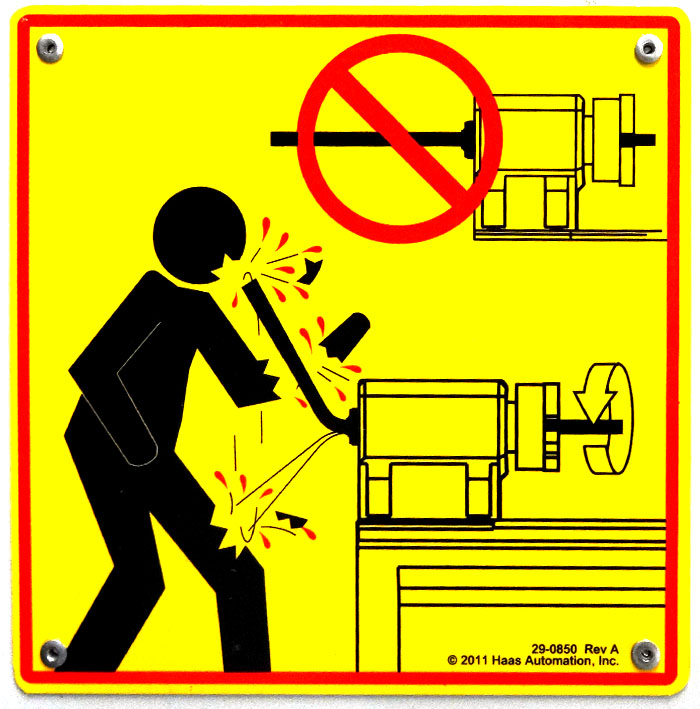 do not leave stock extending out of the lathe, haas cnc lathe warning