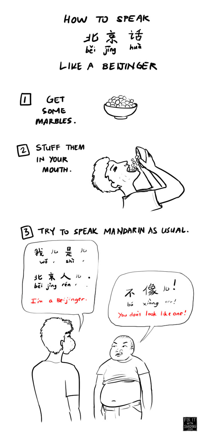 1. get marbles. 2. stuff them in your mouth. 3. speak mandarin.