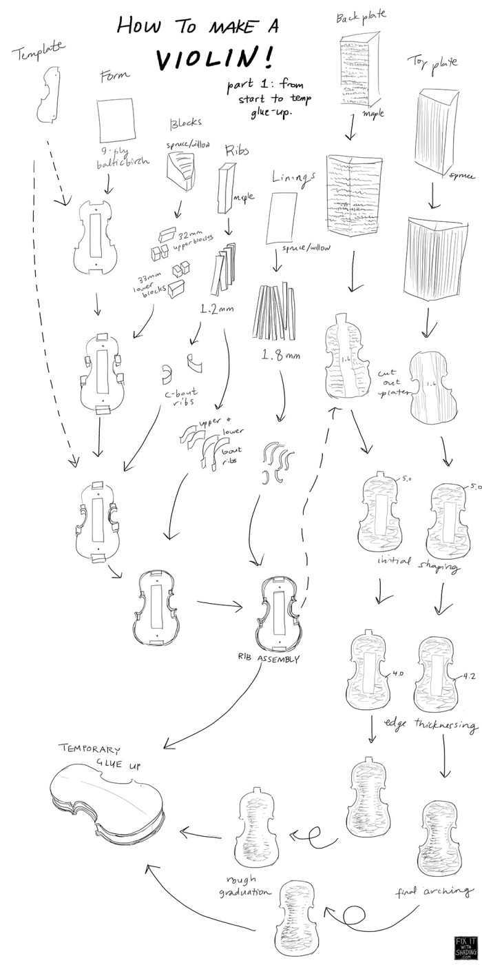 steps to making a violin, from raw material to temporary glue up