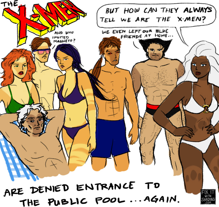 the x-men are denied entrance to the public pool again