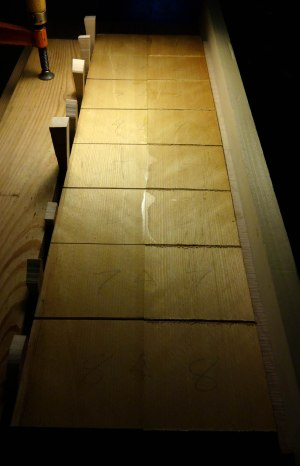 wood samples joined together with different ratios of hide glue